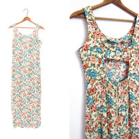 Vintage long summer dress 90s floral revival slip BOHO Cut Out Keyhole Sleeveless Sundress Maxi Flower Print Rayon Small