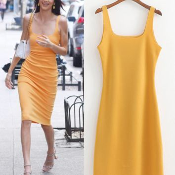 New summer sexy low - cut sheath shows thin wrap hip vest dress woman