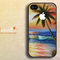 beach design  iphone 4 case-  unique  iphone 4s case ,apple iphone case 4, phone 4 cover  ,the best iphone cases 4 with blue flower printing