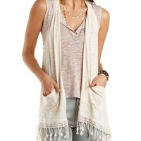 Oatmeal Slub Knit Vest with Crochet Trim by Charlotte Russe