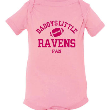DADDYS LITTLE RAVENS Fan Girls Pink Toddler Shirt Or Creeper Baltimore Ravens Fans Football Tshirts