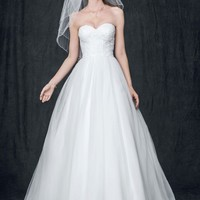 Strapless Ball Gown with Lace Corset Bodice - David's Bridal