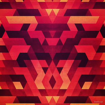 'Abstract geometric triangle texture pattern design in diabolic future red' by badbugs