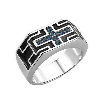 Cerulean - Men's Stainless Steel Crystal Montana High Polished Statement Ring