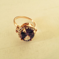 Vintage Early 1990s Size 8 Gold Tone Purple And Clear Cubic Zirconia Ring
