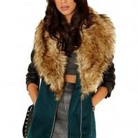 Missguided - Orla Faux Fur Collar Detail Coat In Deep Green