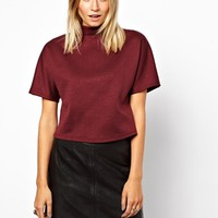 ASOS Crop Top with High Neck and Wide Sleeve - Dark red