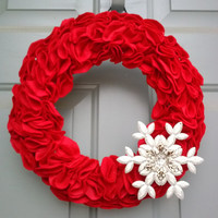 Red Christmas Wreath, Snowflake, Holiday Wreath, Christmas Door Wreath, Christmas Decorations, Red Holiday Wreath, Snowflake, Holiday