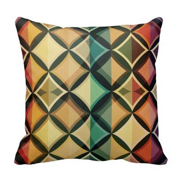 Retro,fall leaf colors,vintage,trendy,pattern,cube throw pillow