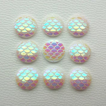 10-50pcs 12mm Mermaid Cabochons Iridescent Mermaid Cabochon Fish Scale Dragon Snake Skin Cabochons Cellphone Case Scrapbooking Opal