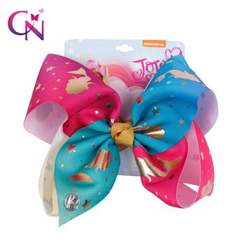 """8"""" Rainbow Mermaid Hairbow With Clip For Girls Kids Handmade Large Metalic Prints Ribbon Knot Bows Hairgrips Hair Accessories"""