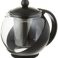 Tempered Glass 3-Cup Tea Pot w/ Removable Steel Infuser, 25 Fluid Ounces