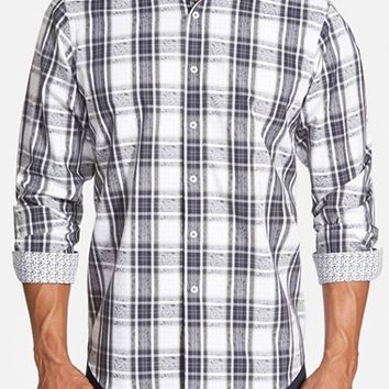 Men's Bugatchi Classic Fit Jacquard Plaid Sport Shirt