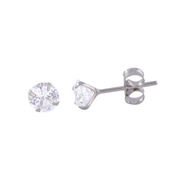 14k White Gold Stud Earrings Round Clear CZ Prong Setting Butterfly Pushbacks
