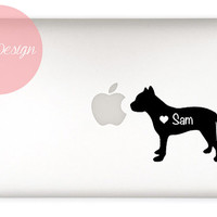 Pit Bull Decal- customizable name - macbook, laptop, iphone, ipad, car window - custom size and color - dog sticker  - pet lover