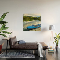 Motor boat on the lake Wood Wall Art by albert12001