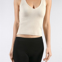 Ribbed Knit Crop Top - Taupe