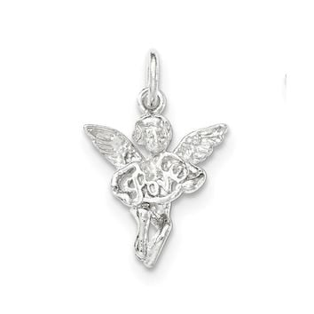 Sterling Silver Polished & Textured Angel Love Pendant