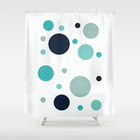 bubbles - the blues Shower Curtain by her art
