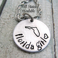 Personalized State Necklace - Hand Stamped Jewelry - Personalized Necklace - Florida Girl Necklace - Custom Jewelry - Stamped Metal Jewelry
