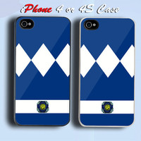 Blue Power Ranger Custom iPhone 4 or 4S Case Cover
