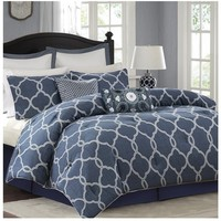 Bayfront Denim Blue and White Comforter Set