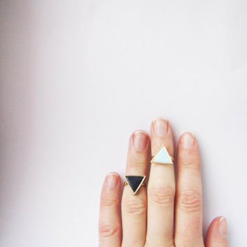 Knuckle black and mint triangle ring . Set of 2 rings Geometric rings