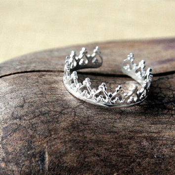 Sterling Silver Toe Ring- Princess Crown