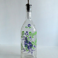 Recycled Seagram's bottle Oil dispenser, Olive oil, Clear glass, Hand painted, Purple flowers, Soap dispenser, Kitchen decor