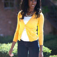 Samantha 6 Button Cardigan - Yellow