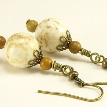 Magnesite Gemstone Jewelry Earrings, Picture Jasper Earrings, Earth Tones Earrings, Dangle Earrings, Beaded Jewelry, Handmade Jewelry