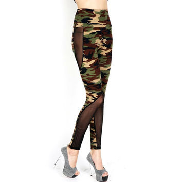 High Waist Camouflage Mesh Leggings