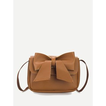 Bow Decor Flap Shoulder Bag