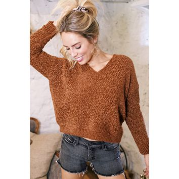 Chenille Cropped Sweater, Rust