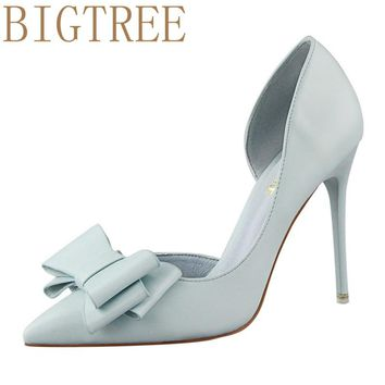 BIGTREE Spring Summer Women Pumps Sweet Bow knot High-heeled Shoes Thin Pink High Heel Shoes Hollow Pointed Stiletto Elegant 22