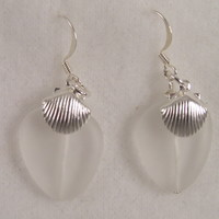 SEAE04 Sterling Silver Sea Glass Earrings with Sterling Silver Shells