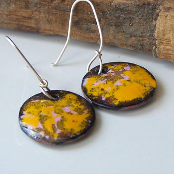 Enamel Earrings:  Mixed Mustard Yellow and Light Pink Enamel on Copper Discs, Enamel on Copper, Enamel, Etsy, Etsy Jewelry