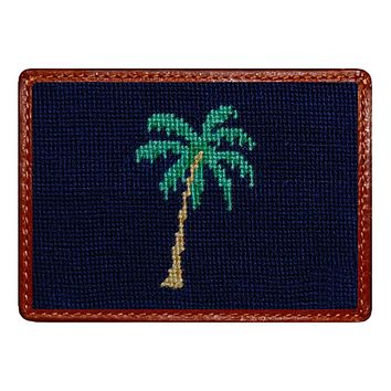 Palm Tree Credit Card Wallet in Blueberry by Smathers & Branson