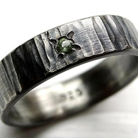 silver wedding band gemstone, tree bark ring with gem, wedding ring forged mens ring engagement ring mens silver band gemstone choice