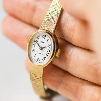 Gold plated watch bracelet Seagull, vintage delicate women's watch, petite woman cocktail watch, oval women watch tiny gift timepiece 70s