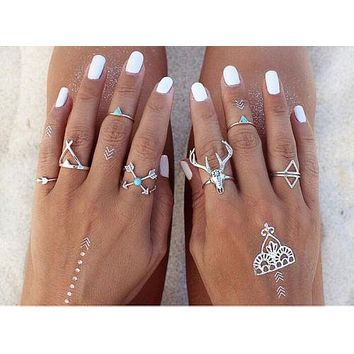 Antler Boho Stacking Rings 7 Piece Set Silver Turquoise Teepee Arrows Great For Festivals!