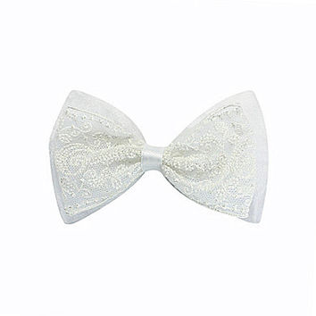 Copper Key Organza Lace Double Bow - White