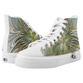 Floral Fantasy Modern Fractal Art Flower With Gold High-Top Sneakers