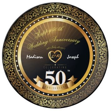 Luxury 50th anniversary Decorative Porcelain Plate