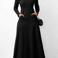 Cowl Neck Long Sleeve Black Maxi Dress | Rotita.com - USD $33.08