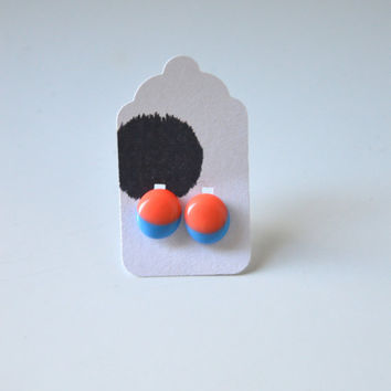 Stud Earrings - Hot Coral and Turquoise Stud Earrings - Tiny Stud Earrings - Post Earrings - Colorful Earrings - Handmade Enamel Studs