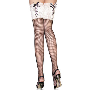BEILEISI Sexy Lycra fishnet thigh high lace up top Over the knee socks hosiery pantyhose fish net stockings for women's lingerie