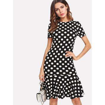 Black And White Polka Dot Ruffle Hem Dress