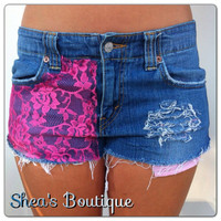 Jean shorts with Pink Lace by SheaBoutique on Etsy