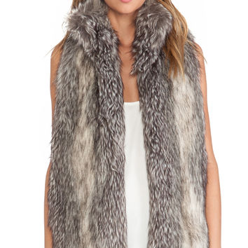 Hunter Bell Caden Faux Fur Vest in Gray